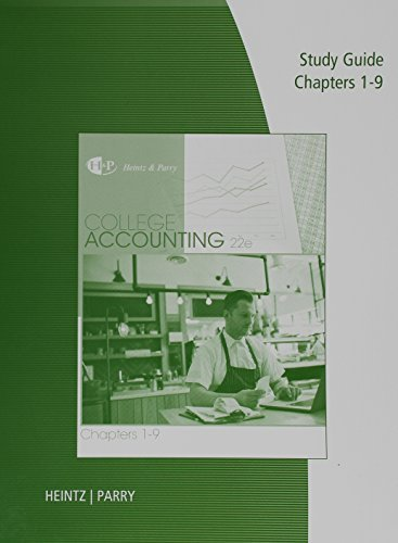 9781305667679: Study Guide and Working Papers for Heintz/Parry's College Accounting, Chapters 1-9, 22nd