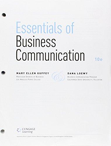 9781305722095: Bundle: Essentials of Business Communication, Loose-Leaf Version, 10th + Premium Website, 1 term (6 months) Printed Access Card + Aplia™, 1 term Printed Access Card