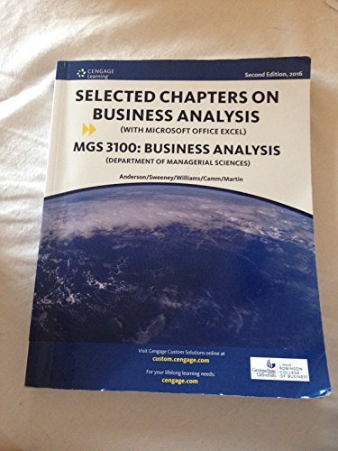 9781305752559: SELECTED CHAPTERS ON BUSINESS ANALYSIS MGS 3100: BUSINESS ANALYSIS 978-1-305-75255-9