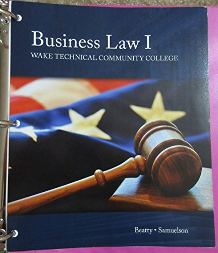 9781305754317: Business Law 1 (Wake Technical Community College