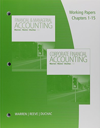 9781305781054: Bundle: Financial & Managerial Accounting, Loose-leaf Version, 13th + Working Papers, Volume 1, Chapters 1-15 + Working Papers, Volume 2, Chapters ... 2 terms (12 months) Printed Access Card