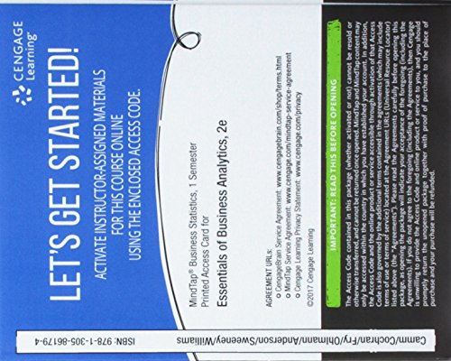 MindTap Business Analytics, 1 term (6 months) Printed Access Card for Camm/Cochran/Fry/Ohlmann/...