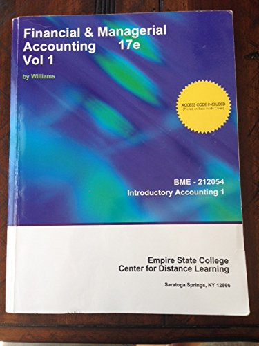9781308206974: Financial&managerial Accounting Vol 1 17e (Empire State College Cdl)