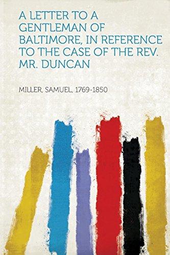 A Letter to a Gentleman of Baltimore,: Samuel Miller