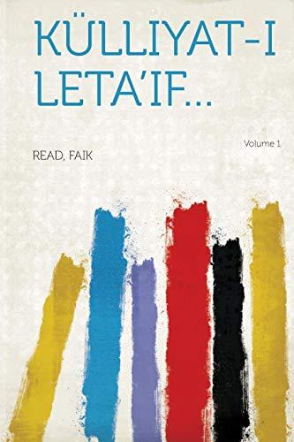 9781314699937: Kulliyat-I Leta'if... Volume 1 (Arabic Edition)