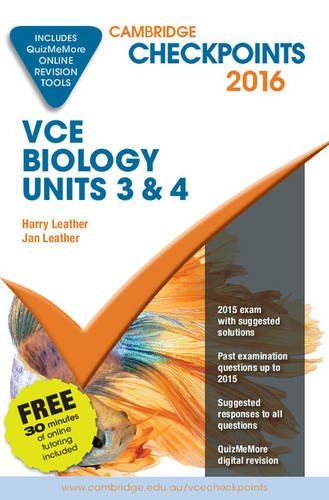 9781316505120: Cambridge Checkpoints VCE Biology Units 3 and 4 2016 and Quiz Me More
