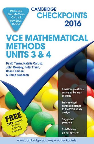 9781316505670: Cambridge Checkpoints VCE Mathematical Methods Units 3 and 4 2016 and Quiz Me More