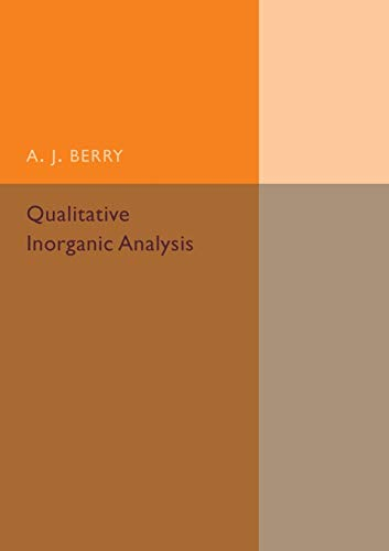 9781316509838: Qualitative Inorganic Analysis