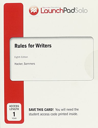 9781319018306: LaunchPad Solo for Rules for Writers (Twelve Month Access)