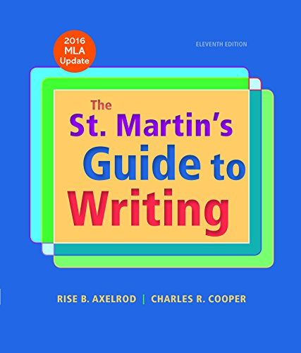 st martins guide to writing Abebookscom: the st martin's guide to writing (9781457698484) by rise b axelrod charles r cooper and a great selection of similar new, used and collectible books available now at great prices.