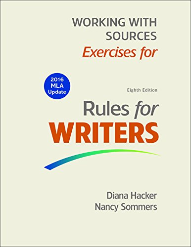 9781319089931: Working With Sources: Exercises for Rules for Writers (MLA Update 2016)