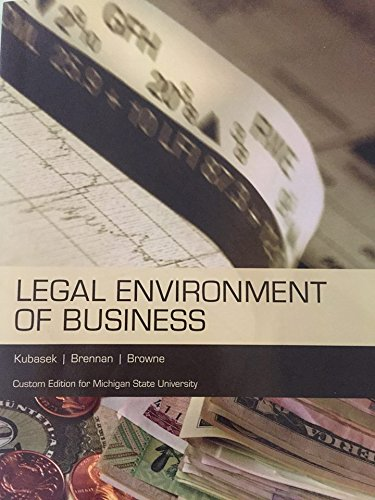9781323041529: Legal Environment of Business Custom Edition for Michigan State University