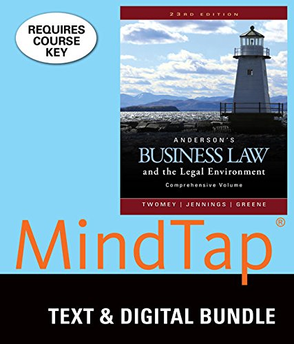 9781337061278: Bundle: Anderson's Business Law and the Legal Environment, Comprehensive Volume, Loose-Leaf Version, 23rd + MindTap Business Law, 2 terms (12 months) Printed Access Card