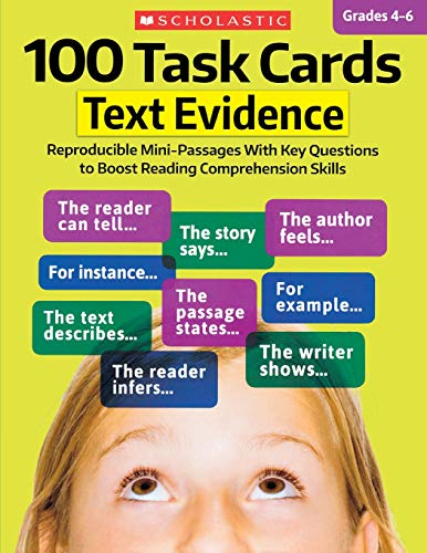 9781338113013: 100 Task Cards: Text Evidence: Reproducible Mini-Passages With Key Questions to Boost Reading Comprehension Skills