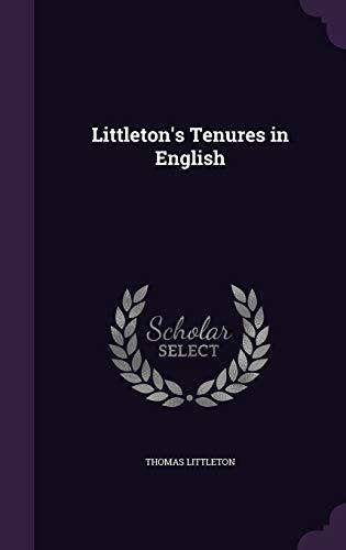 9781340974510: Littleton's Tenures in English
