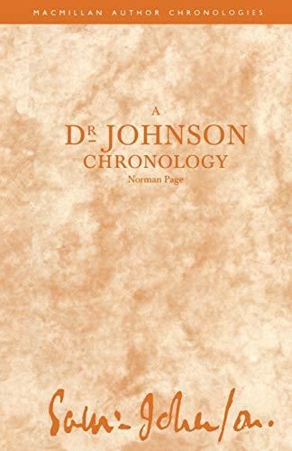 9781349100385: A Dr Johnson Chronology (Author Chronologies Series)