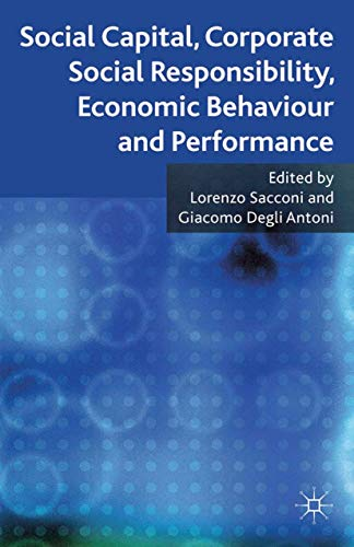 9781349314058: Social Capital, Corporate Social Responsibility, Economic Behaviour and Performance