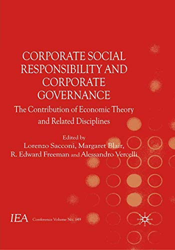 9781349314621: Corporate Social Responsibility and Corporate Governance: The Contribution of Economic Theory and Related Disciplines (International Economic Association Series)