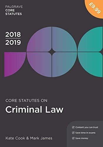 9781352003321: Core Statutes on Criminal Law 2018-19 (Macmillan Core Statutes)