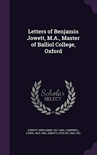 9781355391951: Letters of Benjamin Jowett, M.A., Master of Balliol College, Oxford