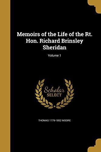 9781373150554: Memoirs of the Life of the Rt. Hon. Richard Brinsley Sheridan; Volume 1