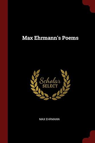 9781376257397: Max Ehrmann's Poems