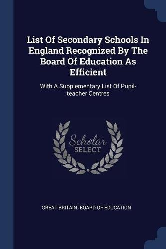 List of Secondary Schools in England Recognized: Great Britain Board