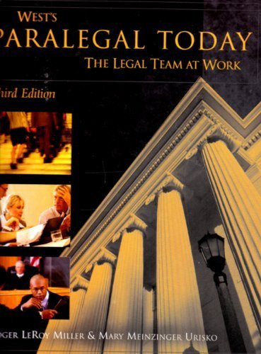 9781401842857: West's Paralegal Today: Legal Team at Work, 3rd Edition