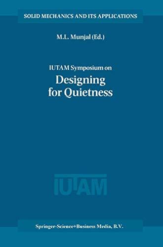 Iutam Symposium On Designing For Quietness: Proceedings: M. L. Munjal,