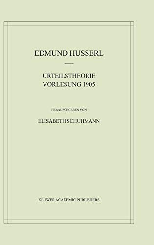 9781402009280: Urteilstheorie Vorlesung 1905