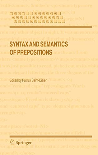 9781402038495: Syntax and Semantics of Prepositions (Text, Speech and Language Technology)