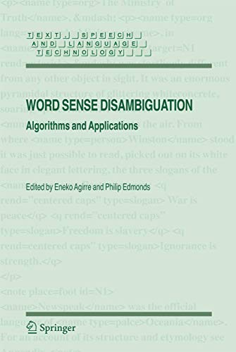 9781402068706: Word Sense Disambiguation: Algorithms and Applications (Text, Speech and Language Technology)