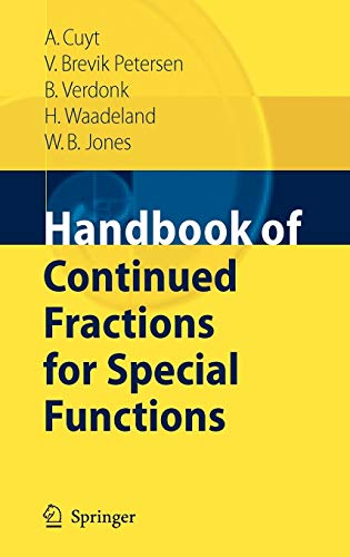 9781402069482: Handbook of Continued Fractions for Special Functions
