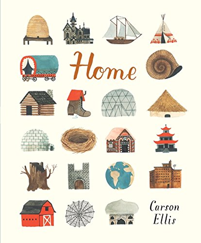 Home 9781406359428 Influential artist Carson Ellis makes her solo picture-book debut with a beautifully imaginative tribute to the many possibilities of home. The picture book debut of Carson Ellis, acclaimed illustrator of the Wildwood series and Lemony Snicket's The Composer is Dead, this is a gorgeous, imaginative celebration of the many possibilities of home. Home might be a house in the country, a flat in the city, or even a shoe. There are clean homes, messy homes, sea homes and bee homes. Home resides on the road or the sea, in the realm of myth, or in the artist's own studio. This loving look at the places where people live brims with intriguing characters and is a visual treat that demands many a return visit.