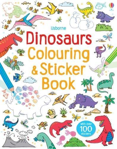 9781409551355: Dinosaurs Sticker and Colouring Book (Usborne Sticker ...