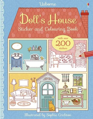 Doll's House Sticker and Colouring Book (Paperback): Abigail Wheatley