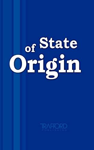 9781412095143: State Of Origin