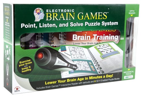 Electronic Brain Games with 6 Puzzle Books
