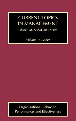 9781412814263: Current Topics in Management: Organizational Behavior, Performance and Effectiveness