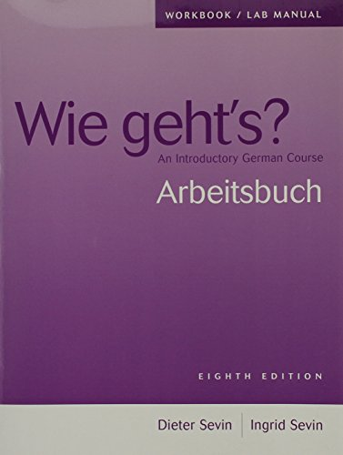 9781413017595: Workbook/Lab Manual for Wie geht's?: An Introductory German Course, 8th