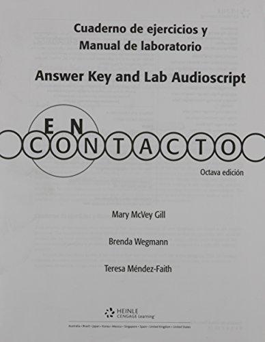 9781413019858: Cuaderno de ejercicios y Manual de laboratorio Answer Key and Lab Auido Script for En contacto: Gramática en accion, 8th