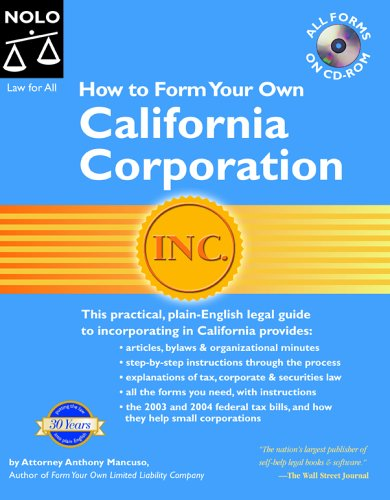 9781413301571: How to Form Your Own California Corporation with CDROM