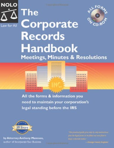 """9781413302011: The Corporate Records Handbook: Meetings, Minutes & Resolutions """"With CD"""" with CDROM"""