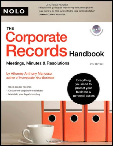 9781413306569: Corporate Records Handbook, The: Meetings, Minutes & Resolutions (book with CD-Rom)