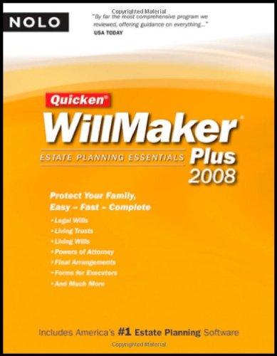 9781413307160: Quicken Willmaker Plus 2008 Edition: Estate Planning Essentials (Book with CD-ROM)