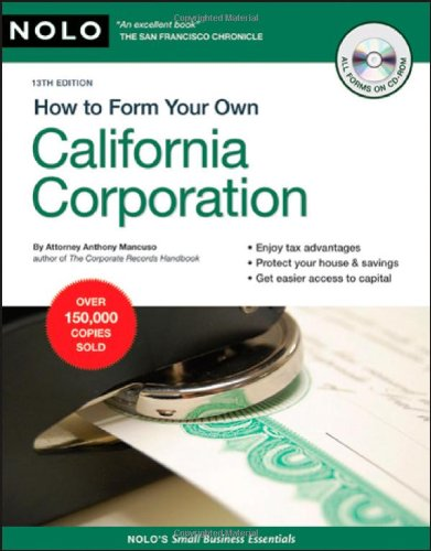 9781413309324: How to Form Your Own California Corporation (Book with CD)