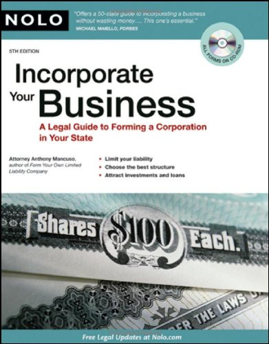 9781413310283: Incorporate Your Business: A Legal Guide to Forming a Corporation in Your State