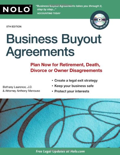 9781413311952: Business Buyout Agreements: Plan Now for Retirement, Death, Divorce or Owner Disagreements