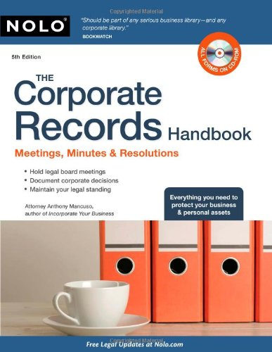 9781413312034: The Corporate Records Handbook: Meetings, Minutes & Resolutions