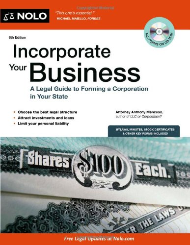 9781413313888: Incorporate Your Business: A Legal Guide to Forming a Corporation in Your State